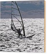 windsurfer rides the water at West Dennis Beach on Cape Cod Wood Print