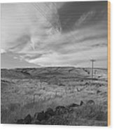 Windswept Hills Bw Wood Print