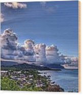 Windward Clouds Wood Print