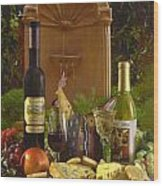 Wine At The Fountain Wood Print