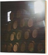 Wine Barrels Wood Print by Viktor Savchenko
