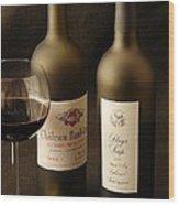 Wine Bottles Wood Print by David Campione