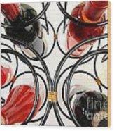 Wine Bottles In Curved Wine Rack Wood Print