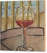 Wine By The Water Wood Print