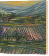 Wine Country Wood Print by Russell Pierce