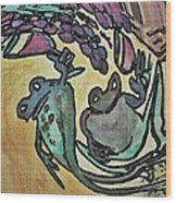 Wine Frogs Blended Not Stirred Wood Print