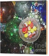 Wine Glass And Marbles Wood Print