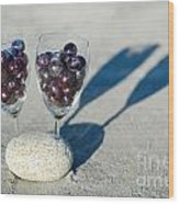 Wine Glass With Grapes Wood Print