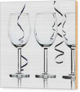 Wine Glasses Wood Print