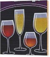Wine Poster Wood Print by Marsha Heiken