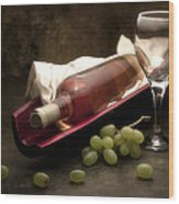 Wine With Grapes And Glass Still Life Wood Print