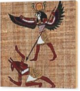 Winged Horus Defeating Set Wood Print by Pet Serrano