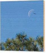 Wings Over Moon Wood Print