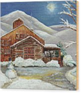 Winter At The Cabin Wood Print