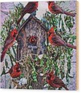 Winter Birdhouse Wood Print