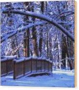 Winter Bridge Wood Print