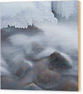 Winter Creek Framed By Ice Wood Print