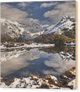 Winter Dawn Reflection Of Mount Wood Print by Colin Monteath