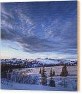 Winter Evening Clouds Wood Print