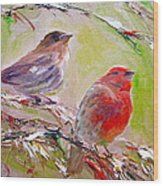 Winter Finches Wood Print