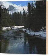 Winter Half Dome And The Merced River Wood Print by Jeff Lowe