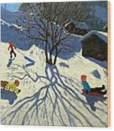 Winter Hillside Morzine France Wood Print