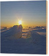 Winter Ice Ridge Churchill River Manitoba Wood Print
