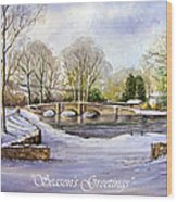 Winter In Ashford Xmas Card Wood Print