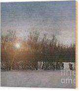 Winter Landscape  Wood Print by Sandra Cunningham