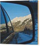 Winter Landscape Seen Through A Car Mirror Wood Print