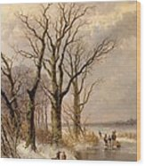 Winter Landscape With Faggot Gatherers Conversing On A Frozen Lake Wood Print