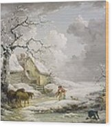Winter Landscape With Men Snowballing An Old Woman Wood Print