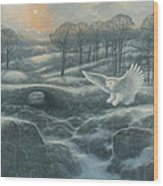 Winter Landscape With Owl Wood Print by Marte Thompson