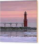 Winter Lighthouse Wood Print