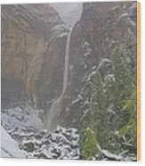 Winter Lower Yosemite Falls Wood Print
