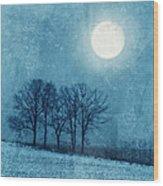 Winter Moon Over Farm Field Wood Print