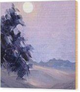 Winter Moonrise Wood Print