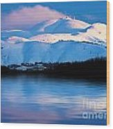 Winter Mountains And Lake Snowy Landscape Wood Print by Anna Om