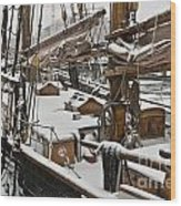 Winter On Deck Wood Print