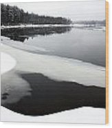 Winter On The Merrimack River Wood Print