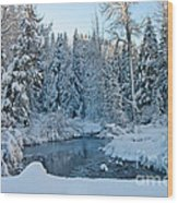 Winter On The Truckee River Wood Print