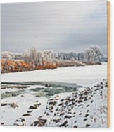 Winter Red River 2012 Wood Print by Steve Augustin
