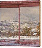 Winter Rocky Mountain Foothills Red Barn Picture Window Frame Ph Wood Print