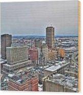 Winter Scene Downtown Buffalo Wood Print