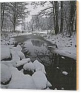 Winter Scene Of Creek With Snow-covered Wood Print