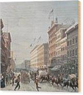 Winter Scene On Broadway Wood Print by American School