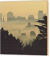 Winter Smog Over The City Wood Print