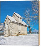 Winter Smoke House Wood Print
