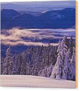 Winter Snow, Cascade Range, Oregon, Usa Wood Print