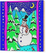 Winter Snowman Wood Print